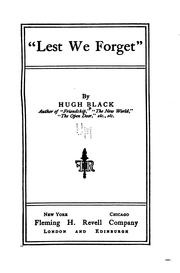 Cover of: Lest we forget