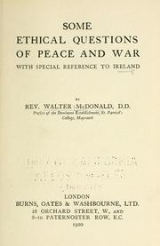 Cover of: Some ethical questions of peace and war