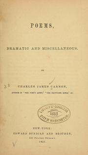 Cover of: Poems, dramatic and miscellaneous