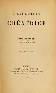 Cover of: L'e ́volution créatrice