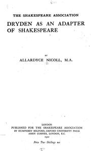 Cover of: Dryden as an adapter of Shakespeare