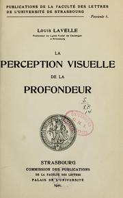 Cover of: La perception visuelle de la profondeur