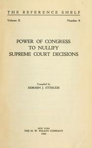 Cover of: Power of Congress to nullify Supreme court decisions