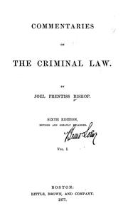 Cover of: Commentaries on the criminal law