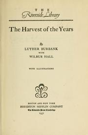 Cover of: Harvest of the Years