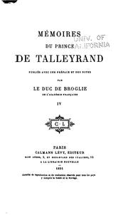 Cover of: Mémoires du prince de Talleyrand