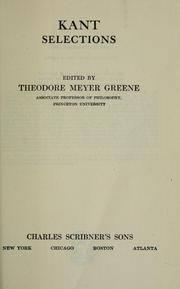 Cover of: Selections: Edited by Theodore Meyer Greene.