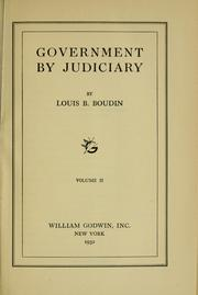 Cover of: Government by judiciary