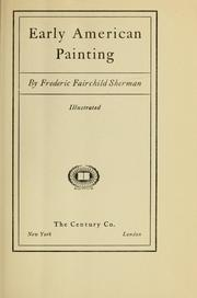 Cover of: Early American painting