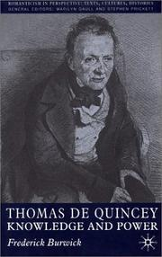 Cover of: Thomas De Quincey