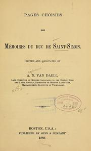 Cover of: Pages choisies des Mémoires du duc de Saint-Simon