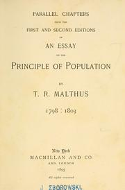 Cover of: Parallel chapters from the first and second editions of An essay on the principle of population