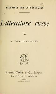 Cover of: Littérature russe