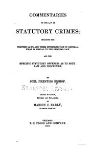 Cover of: Commentaries on the law of statutory crimes