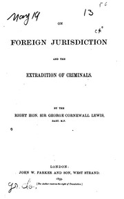 Cover of: On foreign jurisdiction and the extradition of criminals