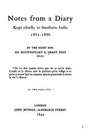 Cover of: Notes from a diary, kept chiefly in southern India, 1881-1886