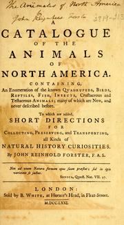 Cover of: A catalogue of the animals of North America