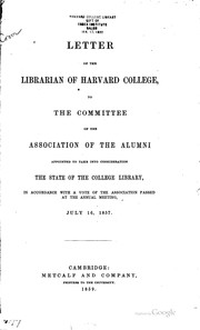 Cover of: Letter of the librarian of Harvard College