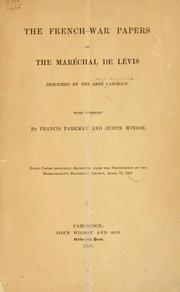 Cover of: The French-war papers of the maréchal de Lévis