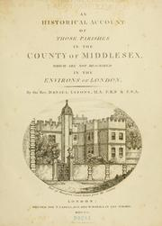 Cover of: An historical account of those parishes in the county of Middlesex