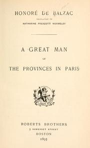 Cover of: A great man of the provinces in Paris