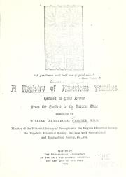 Cover of: A registry of American families entitled to coat armor from the earliest to the present time
