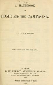 Cover of: A handbook of Rome and the Campagna