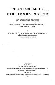 Cover of: The teaching of Sir Henry Maine