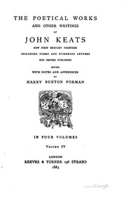 Cover of: The poetical works and other writings of John Keats