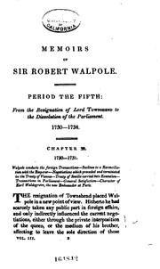 Cover of: Memoirs of the life and administration of Sir Robert Walpole