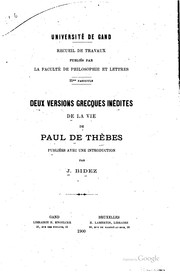 Cover of: Deux versions grecques inédites de la vie de Paul de Thèbes