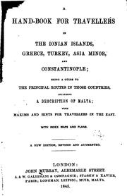 Cover of: A hand-book for travellers in the Ionian Islands, Greece, Turkey, Asia Minor, and Constantinople