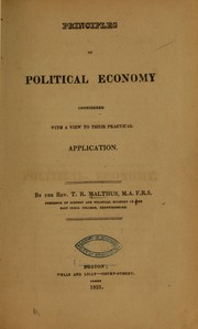 Cover of: Principles of political economy considered with a view to their practical application