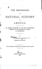 Cover of: The beginnings of natural history in America