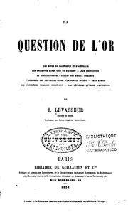 Cover of: La question de l'or