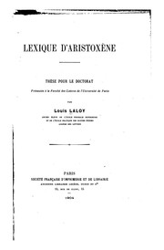 Cover of: Lexique d'Aristoxène..
