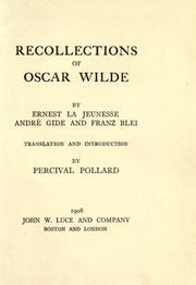 Cover of: Recollections of Oscar Wilde