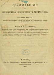 Cover of: Mammalogie, ou, Description des espèces de mammifères