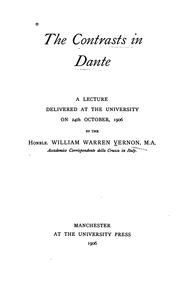 Cover of: The contrasts in Dante