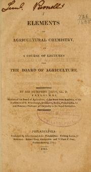 Cover of: Elements of agricultural chemistry