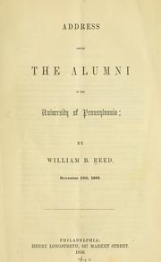 Cover of: Address before the alumni of the University of Pennsylvania