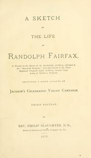 Cover of: A sketch of the life of Randolph Fairfax