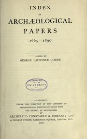 Cover of: Index of archaeological papers, 1665-1890