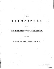 Cover of: The principles of Mr. Harrison's time-keeper