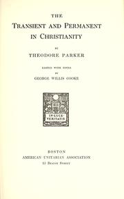 Cover of: The transient and permanent in Christianity