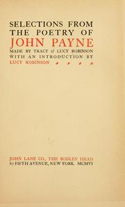Cover of: Selections from the poetry of John Payne