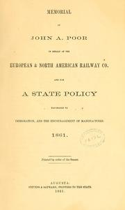 Cover of: Memorial of John A. Poor in behalf of the European & North American Railway Co