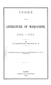 Cover of: Index to the literature of manganese, 1596-1874