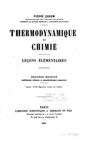 Cover of: Thermodynamique et chimie