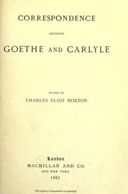 Cover of: Correspondence between Goethe and Carlyle